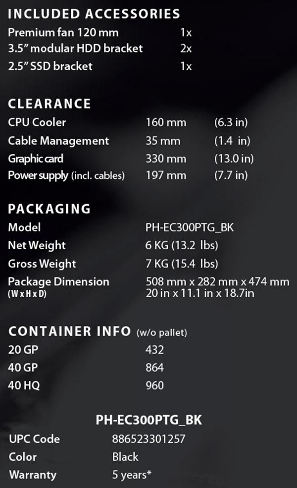 Specificaties (Phanteks Eclipse P300 Zwart/Rood)