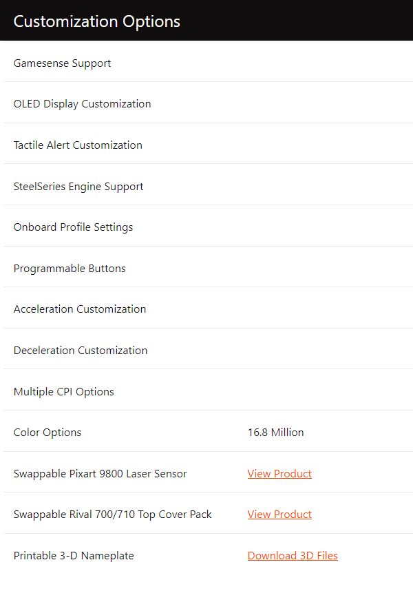 Specificaties (SteelSeries Rival 710)