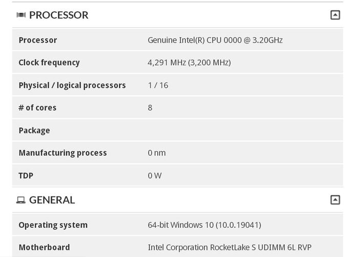 Intel Rocket Lake-S benchmark