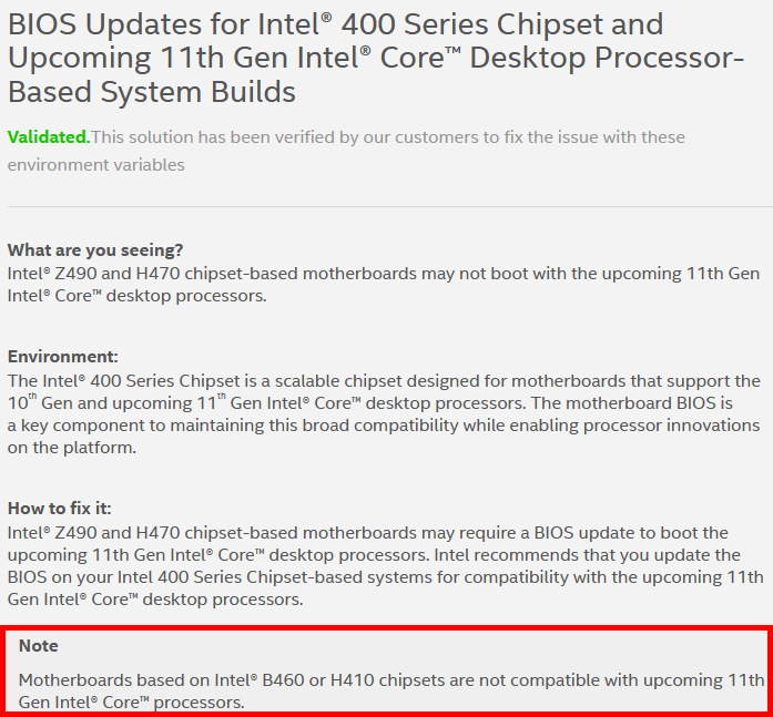 Intel H410 B460 Rocket Lake support statement