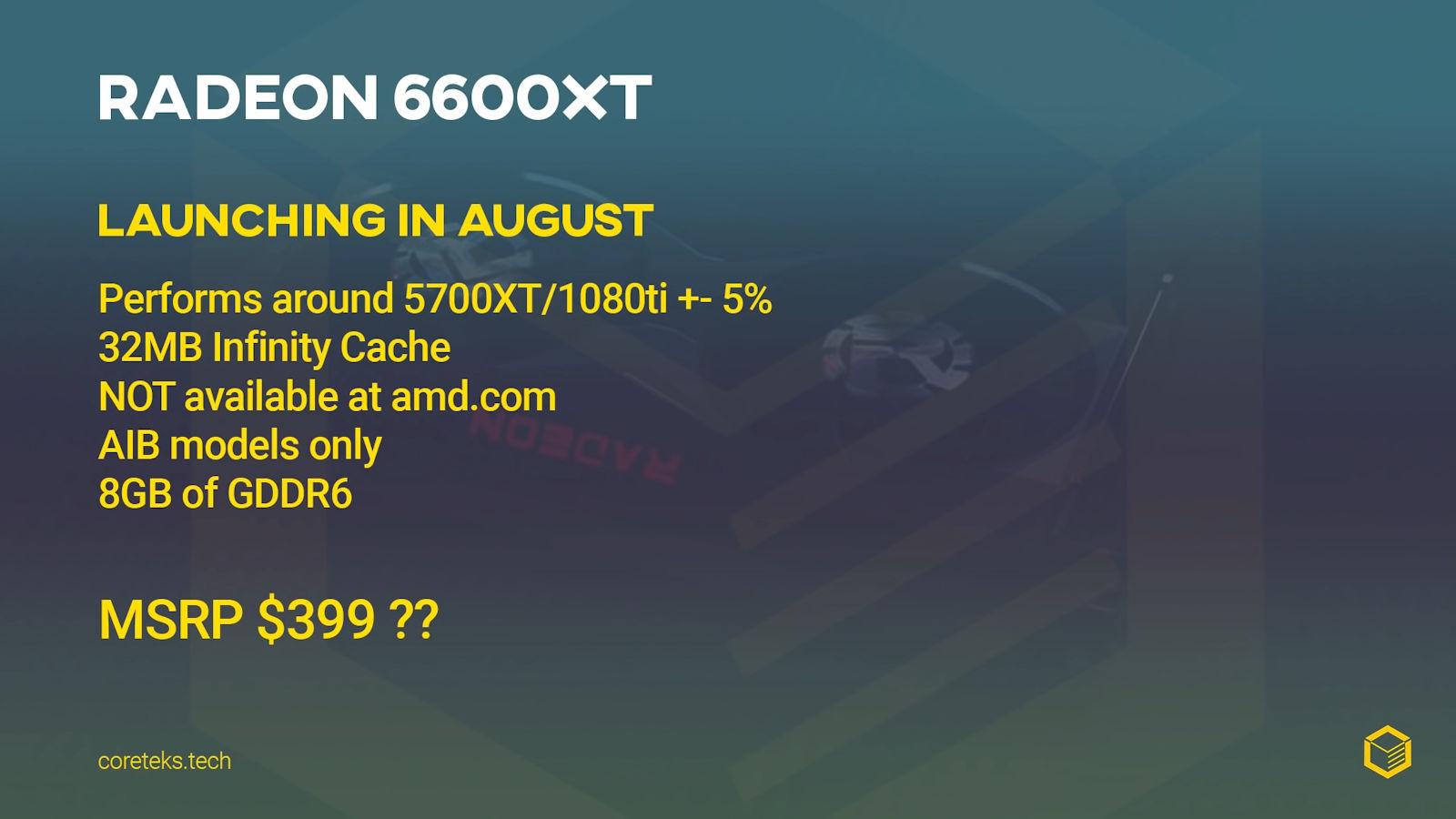 AMD Radeon RX 6600 XT - Releasedatum augustus - Coreteks